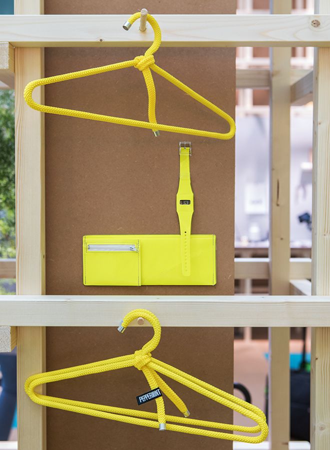 Coat hanger from Peppermint, watch and wallet from Mark's Japan at the trend presentation Colourful Intentions at Ambiente 2018