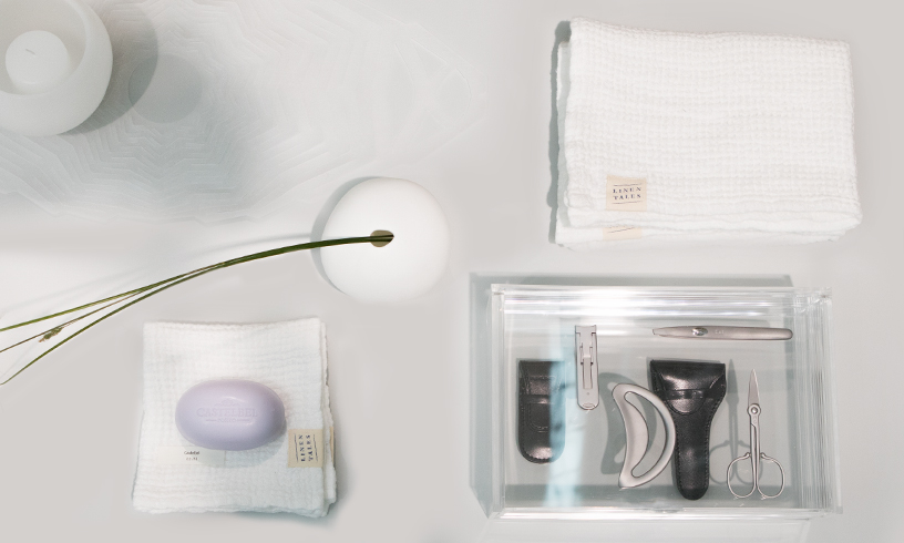 Towels from Linen Tales, hand soap from Castelbel, manicure set from Kai Corporation at the trend presentation Technological Emotions at Ambiente 2018
