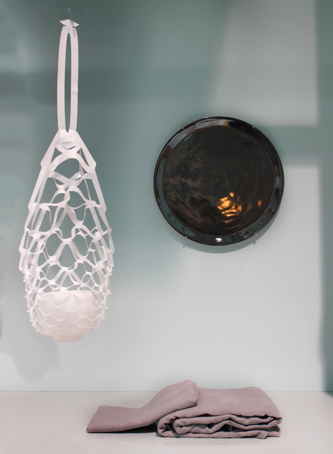 Candle from Engels Kerzen, serving dish from Wik & Walsøe, bed linen from Linen Tales at the trend presentation Technological Emotions at Ambiente 2018
