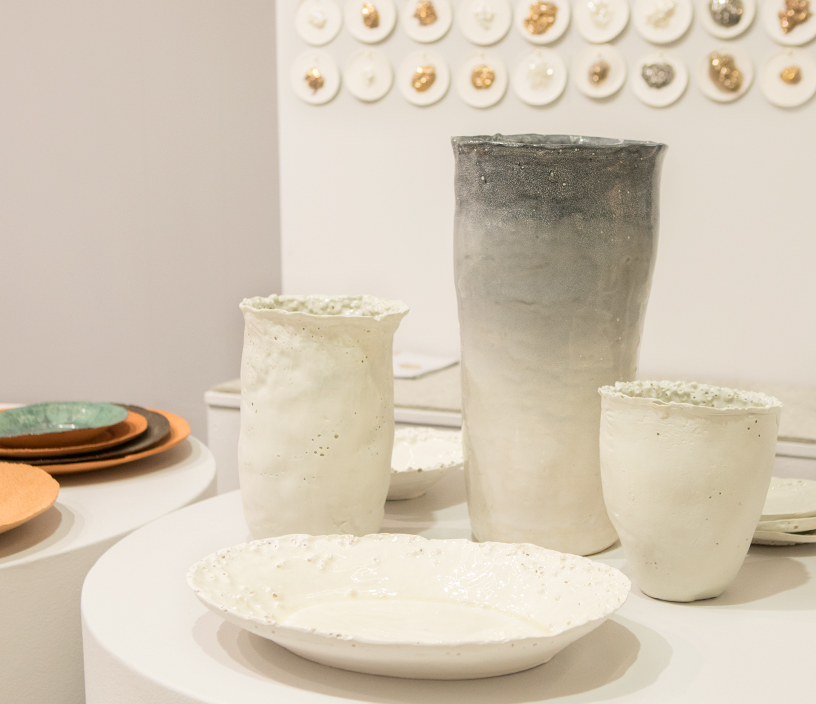 Plates and vases made of clay in the Dining Talents area at Ambiente 2018