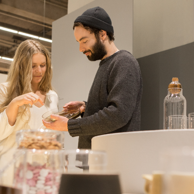 Woman and man talking in the Talents area at Ambiente 2018
