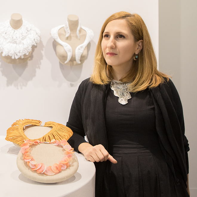 Woman with lace necklaces in the Talents area at Ambiente 2018