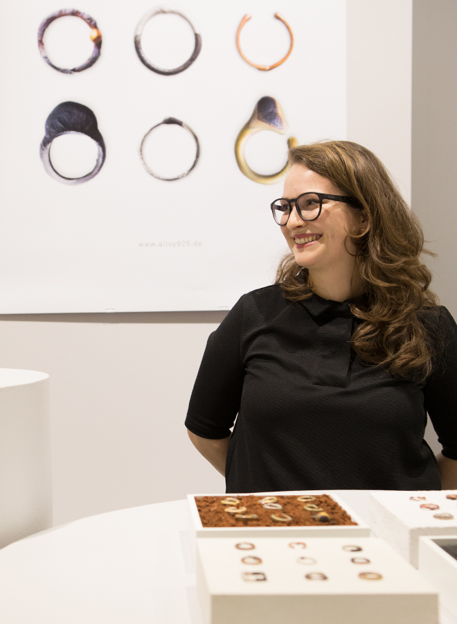 Woman presents jewelry in the Talents area at Ambiente 2018