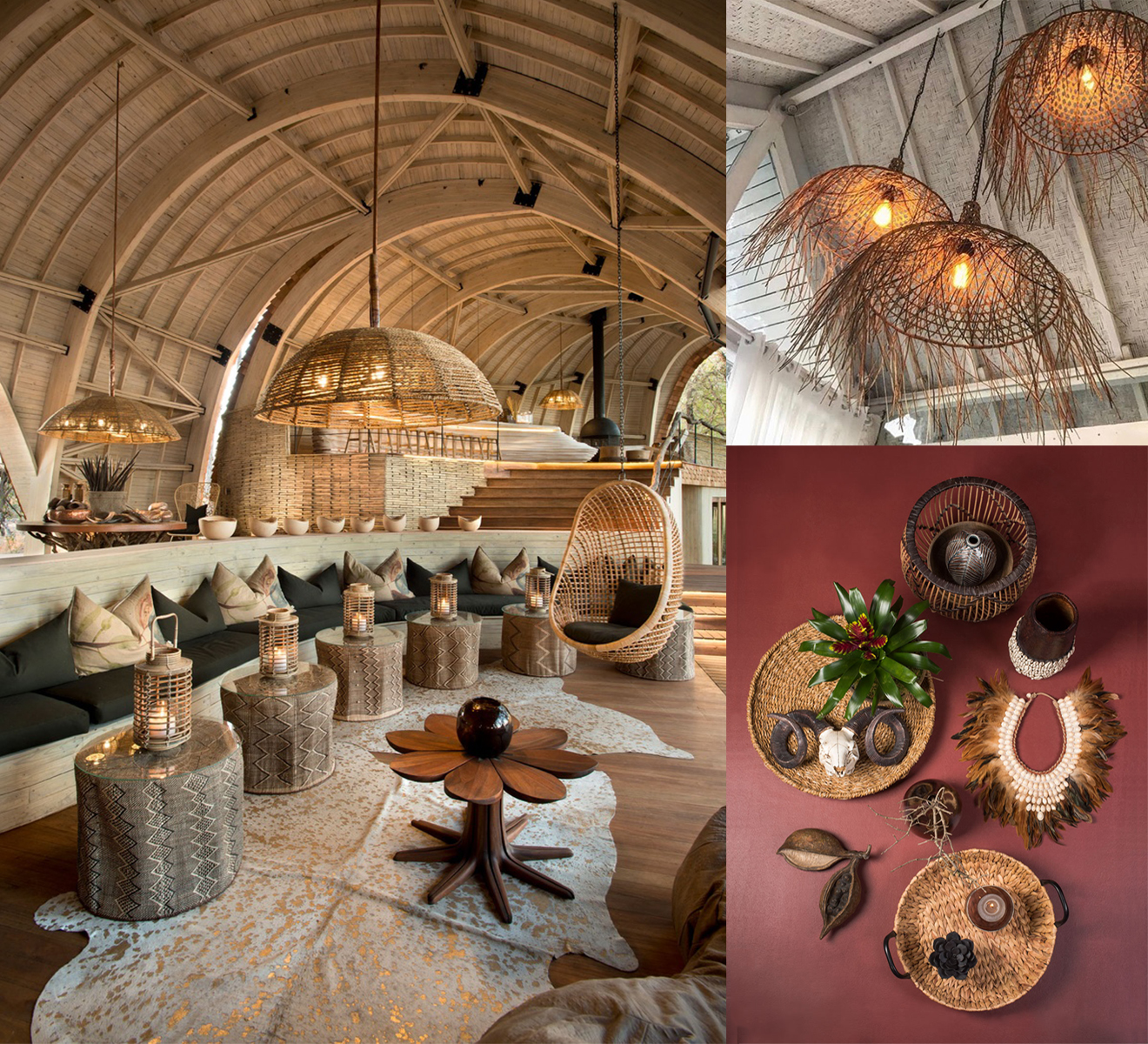 The rattan Interior of the &beyond Sandibe Safari Lodge in Botswana, the warm light of the rattan lights from Bazar Bizar and the woven baskets from Kersten arouse wanderlust to Africa.