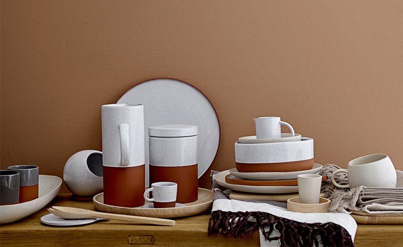 Terracotta- and earth-colored tableware from Bloomingville