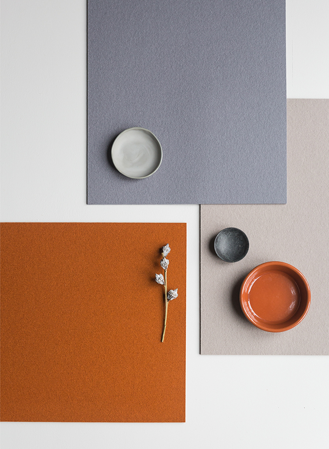 Terracotta and earth-colored wool felt table placemat by Hey Sign