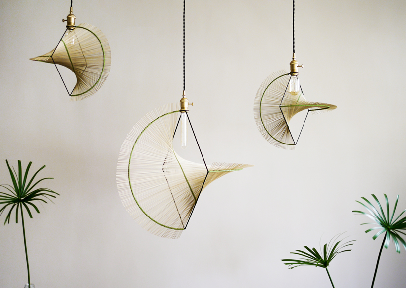 Delicate rattan hanging lamps from Kamaro'an's Woven Series