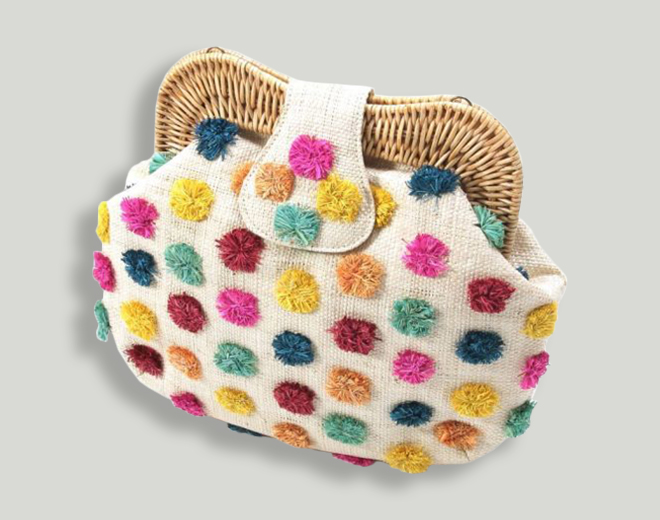 2Way Clutch Bag from Larone combining clutches from wickerwork with a coloful cloth look