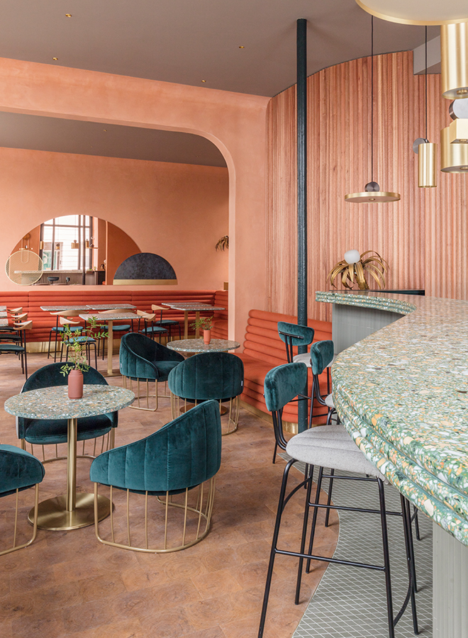 Terracotta-colored interior design of the London restaurant