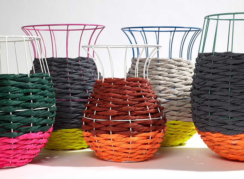 Fluorescent raffia baskets