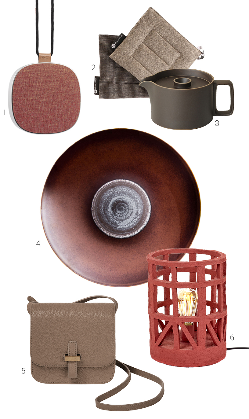 Composing of terracotta-colored products from exhibitors of the Ambiente fair
