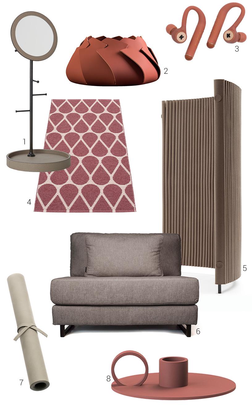 Collage aus terrakotta- und erdfarbenen Wohnaccessoires und Interior Design von Ausstellern der Ambiente Messe