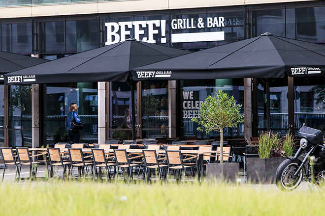 Exterior view of the Beef! Grill & Bar in Frankfurt