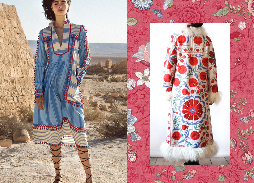 Slavic style in the world of fashion, represented by a Dodo Bar Or dress and a Zazi Vintage coat
