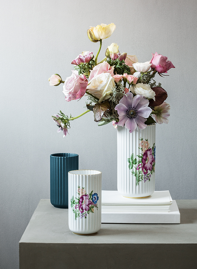 Floral embellished porcelain vase by Lyngby capturing the Slavic style