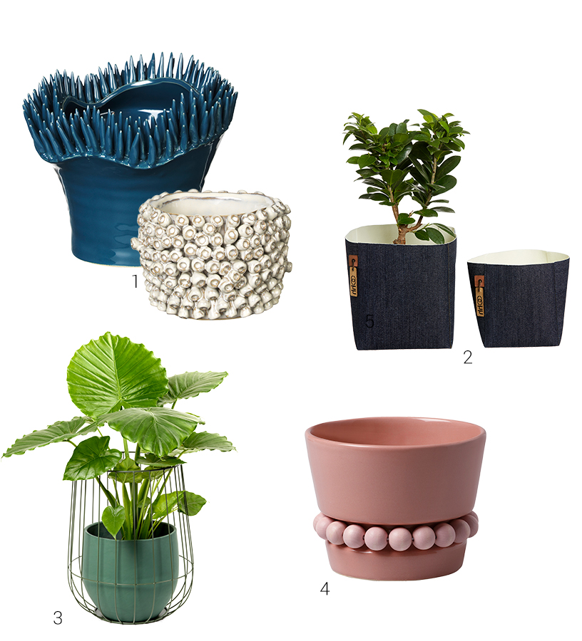Modern plant pots from exhibitors of the Ambiente fair