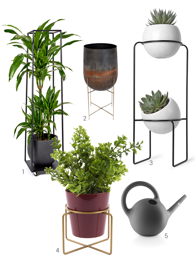 Modern plant pots with rack from exhibitors of the Ambiente fair