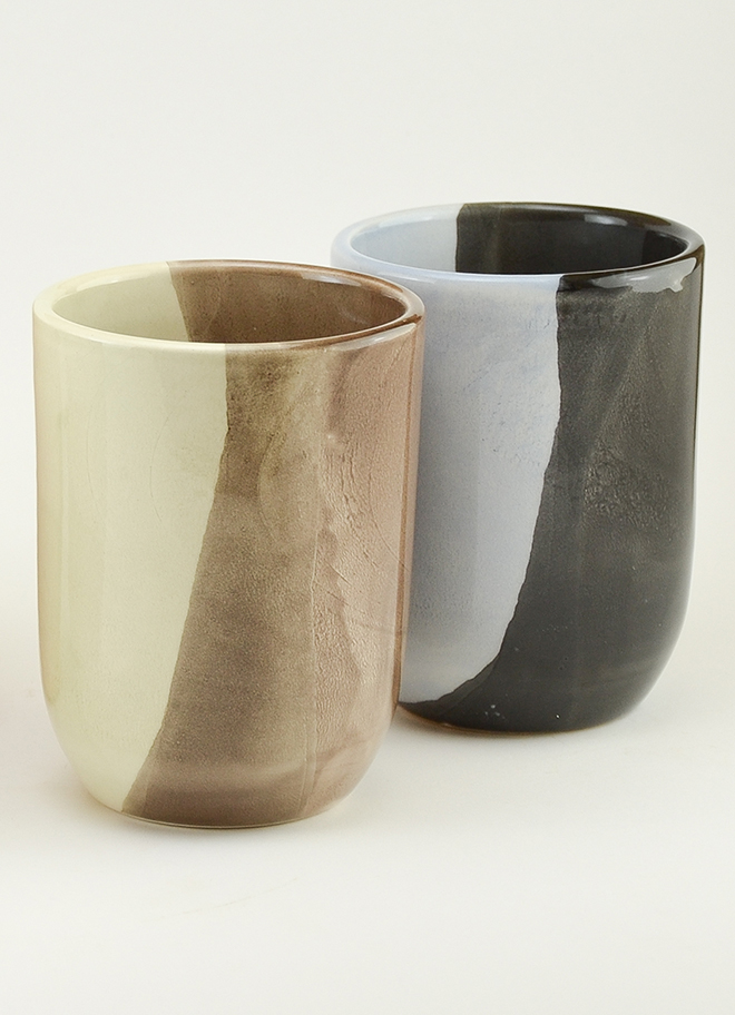 Keramikbecher von Ceramiques Aparicio in beige und schwarz