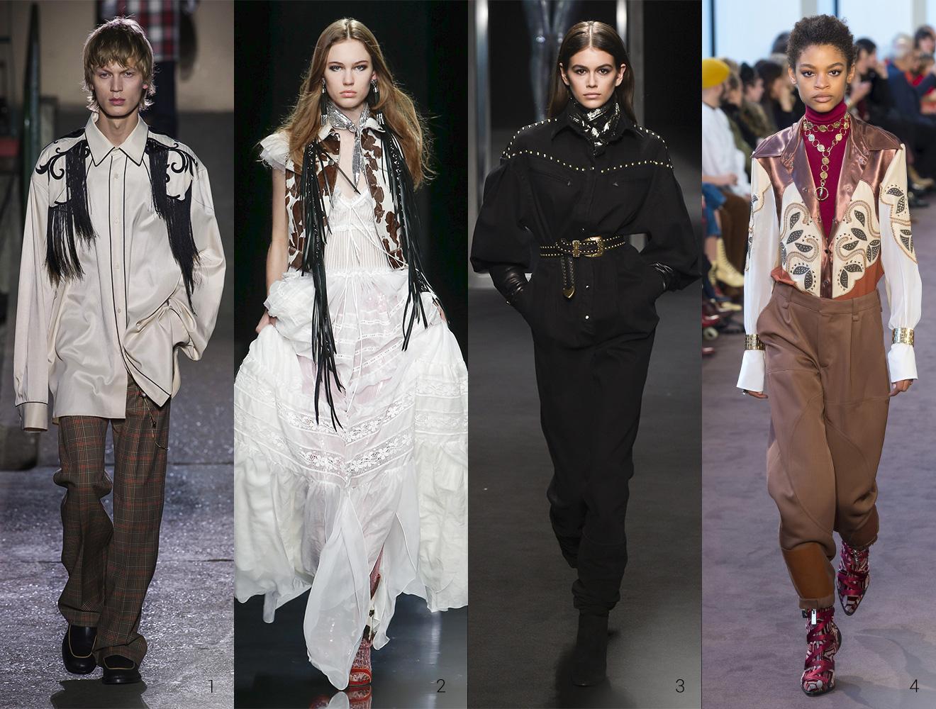 Outfits der Herbst Winter Kollektion 2018 im wilden Westen Style von Dries Noten Dsquared Alberta Ferretti und Chloe