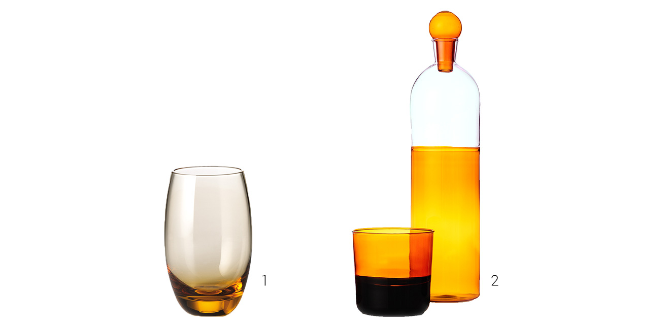 Amber-colored glasses and a carafe