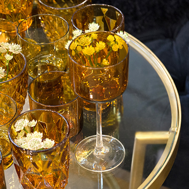 Amber colored glasses by Nordal photographed at Ambiente fair