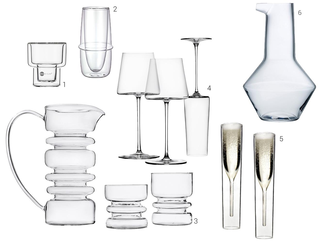 Kombination aus Gläsern und Karaffen verschiedener Aussteller im klaren Design