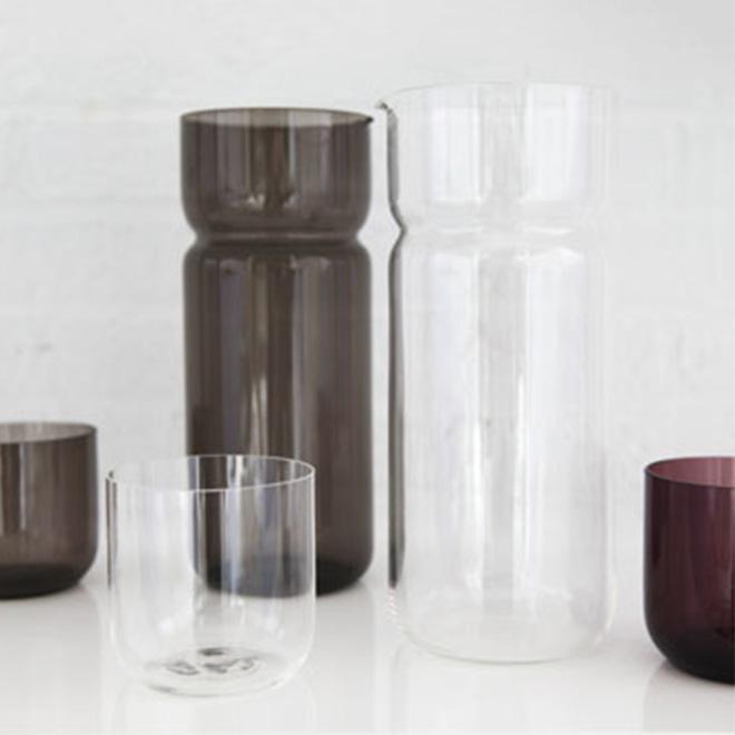 Karaffen und Glas Kombination in klar und rauchfarben von Onshus