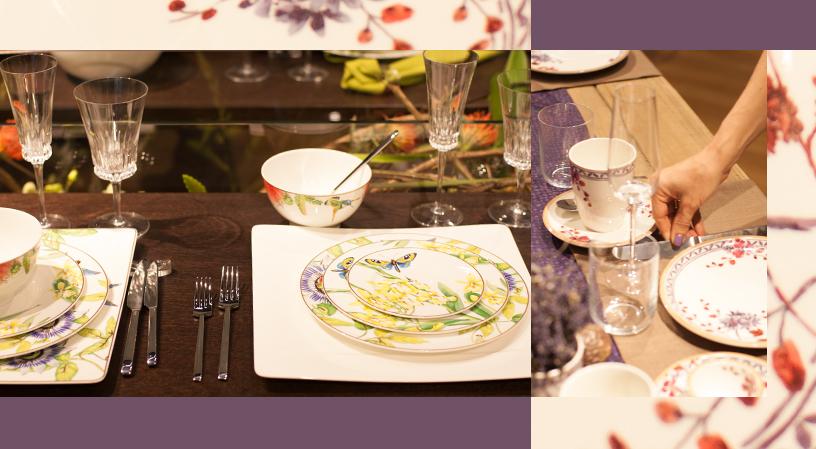 Amazonia Anmut-Besteck-Gläser-Passionsblumen-Artesano Provençal Lavendel-Ambiente