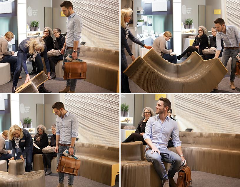 Ausziehbares Sofa auf der Trendwatcher Tour auf der Ambiente Messe in Frankfurt.