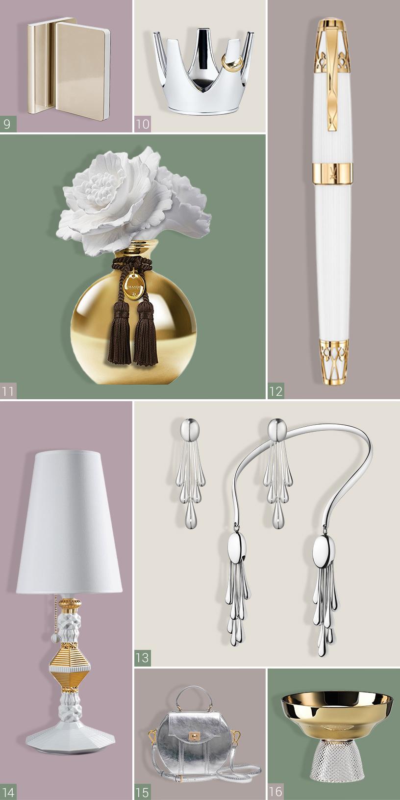 Man sieht acht Produkte verschiedener Hersteller. Oben links im Bild sieht man goldene Notizbücher von Nuuna. Daneben sieht man einen silbernen Schmuckhalter in Form einer Krone von Philippi. Darunter befindet sich ein goldener Raumduft von Chando. Daneben sieht man einen gold-weißen Füllfederhalter von Meissen. Darunter ist ein Halsreif und Ohrringe von Georg Jensen zu erkennen. Links daneben befindet sich eine gold-weiße Tischlampe von Lladró. Daneben ist eine silberne Tasche von Aly Shea abgebildet und daneben sieht man eine goldene Schale von Rosenthal.