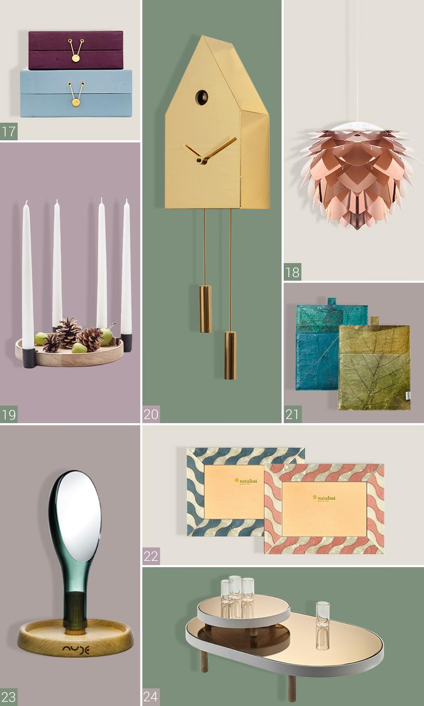Man sieht acht Produkte verschiedener Hersteller. Oben links im Bild sieht man Boxen aus Samt von House Doctor. Rechts im Bild ist eine rosa Lampe von Vita Copenhagen zu sehen. Unter den Boxen sind Kerzenhalter von Applicata zu sehen. Daneben befindet sich eine Wanduhr von Progetti. Rechts daneben sind Tablet-Taschen von Aveva abgebildet. Darunter befindet sich ein Bilderrahmen von Natalini. Links unten ist ein Spiegel von Nude Glass zu sehen. Daneben befindet sich ein Couchtisch von Serax.