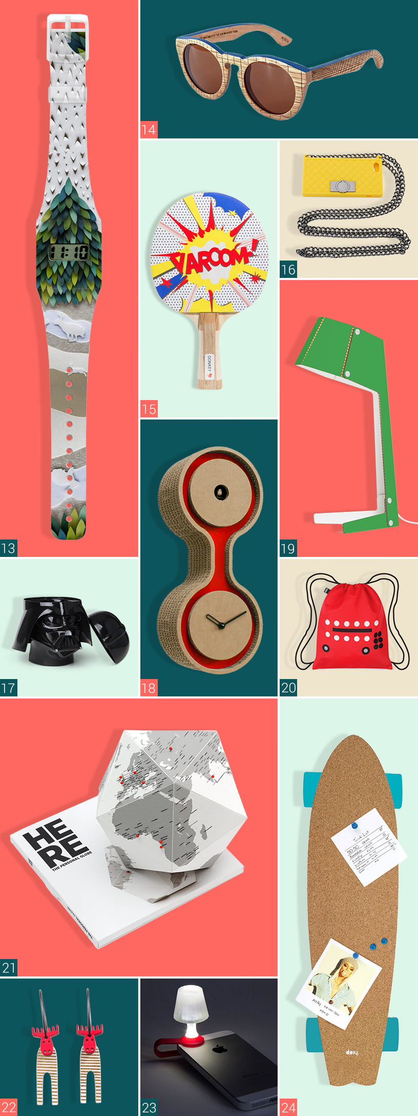 Man sieht zwölf Produkte verschiedener Hersteller. Links oben im Bild ist eine Armbanduhr von I Like Paper zu sehen. Im oberen Bild daneben ist eine Sonnenbrille von Papier Tigre abgebildet. Unterhalb dessen ist ein Tischtennisschläger von Donkey Products zu sehen. Daneben ist eine Handy-Tasche von O.Jacky abgebildet. In der Mitte des Bildes ist ein schwarzer Behälter von Room Copenhagen zu sehen. Daneben s ieht man eine Wanduhr von Progetti. Rechts daneben ist eine Tischlampe von And Bros und ein Rucksack von Loqi abgebildet. Links darunter ist ein Papier-Globus von Palomar zu sehen und darunter Ohrringe in Elchform von Lene Lundberg. Daneben ist ein Handy-Nachtlicht von Peleg Design und eine Pinnwand von Doiy zu sehen.