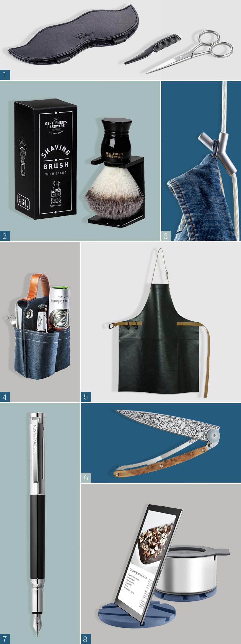 Man sieht acht Produkte verschiedener Hersteller. Oben im Bild ist eine schwarze Ledertasche von Philippi zu sehen. Daneben liegt eine Schere und ein kleiner Kamm zur Bartpflege . Im Bild darunter ist ein schwarzer Rasierpinsel von Wild & Wolf zu sehen. Rechts im Bild neben dem Rasierpinsel ist eine silberner Kleiderhaken von Authentics zu sehen, an dem eine Jeans hängt. Darunter befindet sich eine schwarze Lederschürze von Dutchdeluxes. Links daneben ist ein mehrfächriger Fahrradtasche aus Jeans von Donkey Products zu sehen. Darunter ist ein Füllfederhalter von George Jensen zu sehen. Daneben befindet sich ein hölzernes Messer von Deejo und blaue Untersetzer für Töpfe und Tablets von Eva Solo.