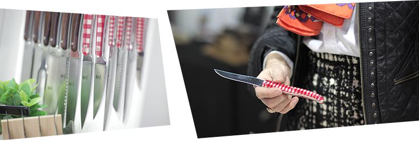 Man sieht zwei Bilder. Links im Bild befinden sich mehrere Messer. Sie haben rot-weiß karierte und hölzerne Griffe. Im Bild daneben sieht man wie ein Mann eines der rot-weiß karierten Messer hält.