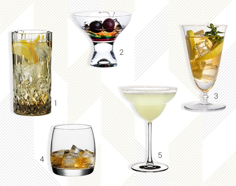 Man sieht Produkte verschiedener Hersteller. Links im Bild ist Glas von Aida zu sehen. Daneben befindet sich ein Glas von Bohemia Cristal. Rechts im Bild erkennt man ein Glas von Steklarna Rogaška, unten links ein Glas von Spiegelau. Rechts unten ist ein Glas von Nude zu erkennen.